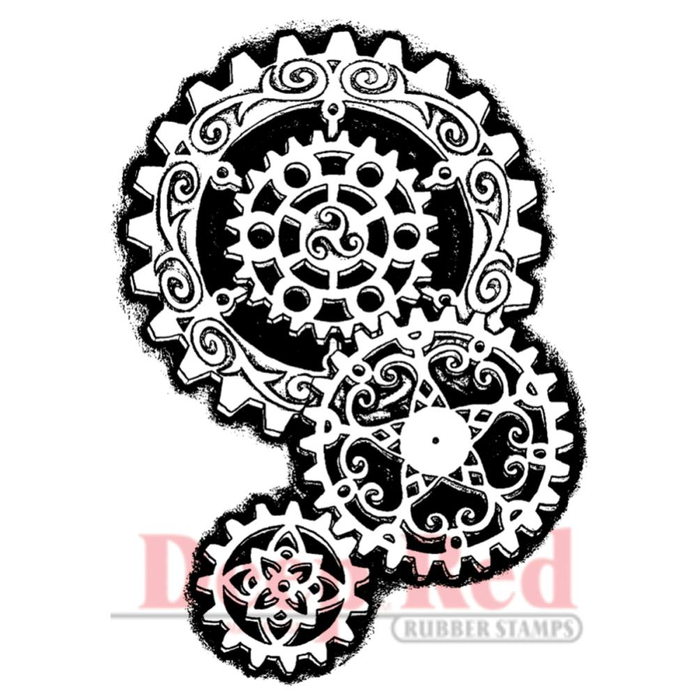 Deep Red - Steampunk Gears - cling stamp