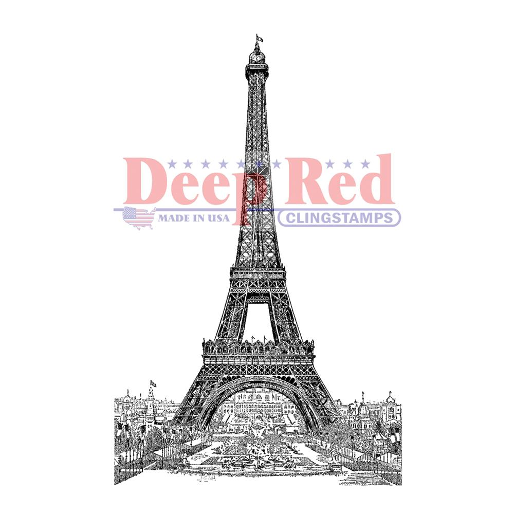 Deep Red ''VINTAGE PARIS EIFEL TOWER'' cling razítko