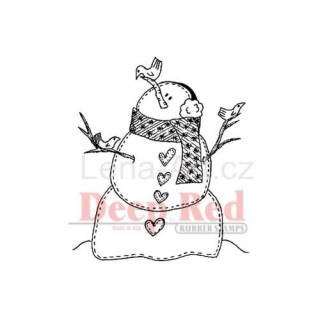 Deep Red ''SNOWMAN WITH BIRDS'' cling stamp