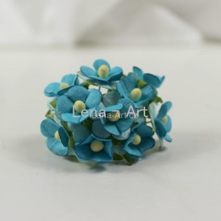 Paper flowers - turquoise blue