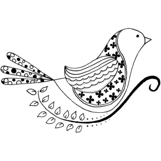 itty bitty - Folksy Feathers /rubber stamp